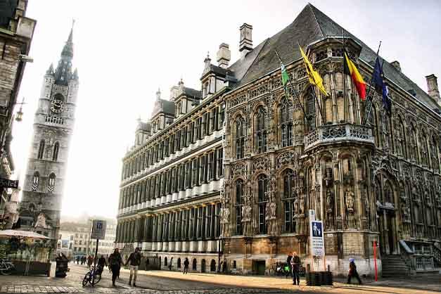 Las calles de Gante en la excursión desde Bruselas.