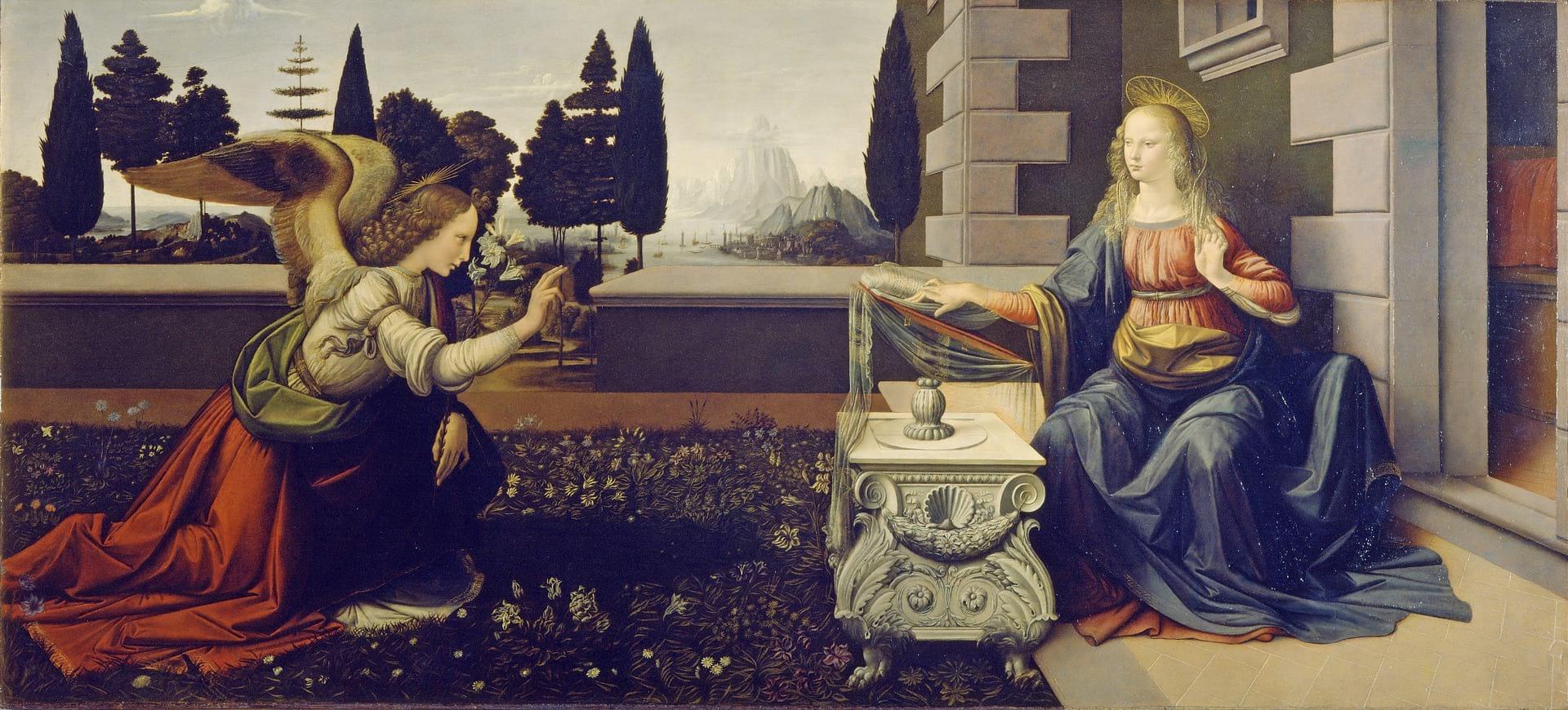 Cuadro de La Anunciación de Leonardo da Vinci en la Galería Uffizi.