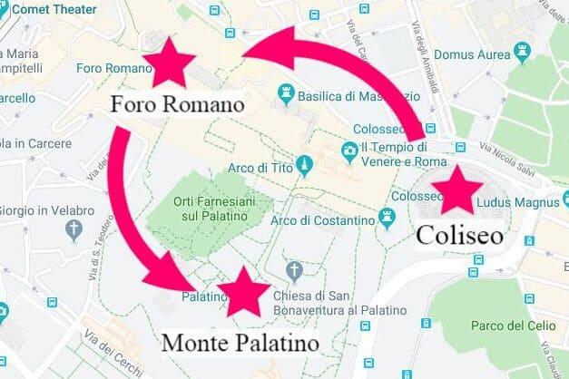 Mapa del recorrido ideal para visitar las ruinas de la Antigua Roma con tus entradas al Coliseo Romano.
